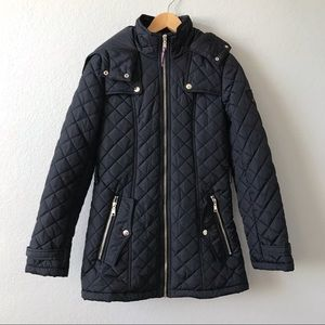 TOMMY HILFIGER Black Diamond-Quilted Hooded Jacket